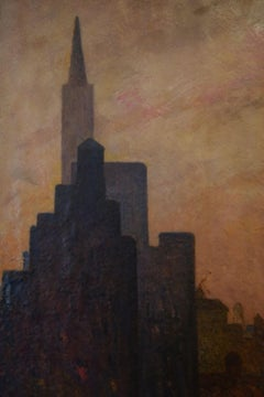 MANHATTAN Modernist Modern Mid-Century WPA modernist NYC large oil painting