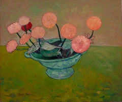 """""""Pink Zinnias in a Bowl"""""""