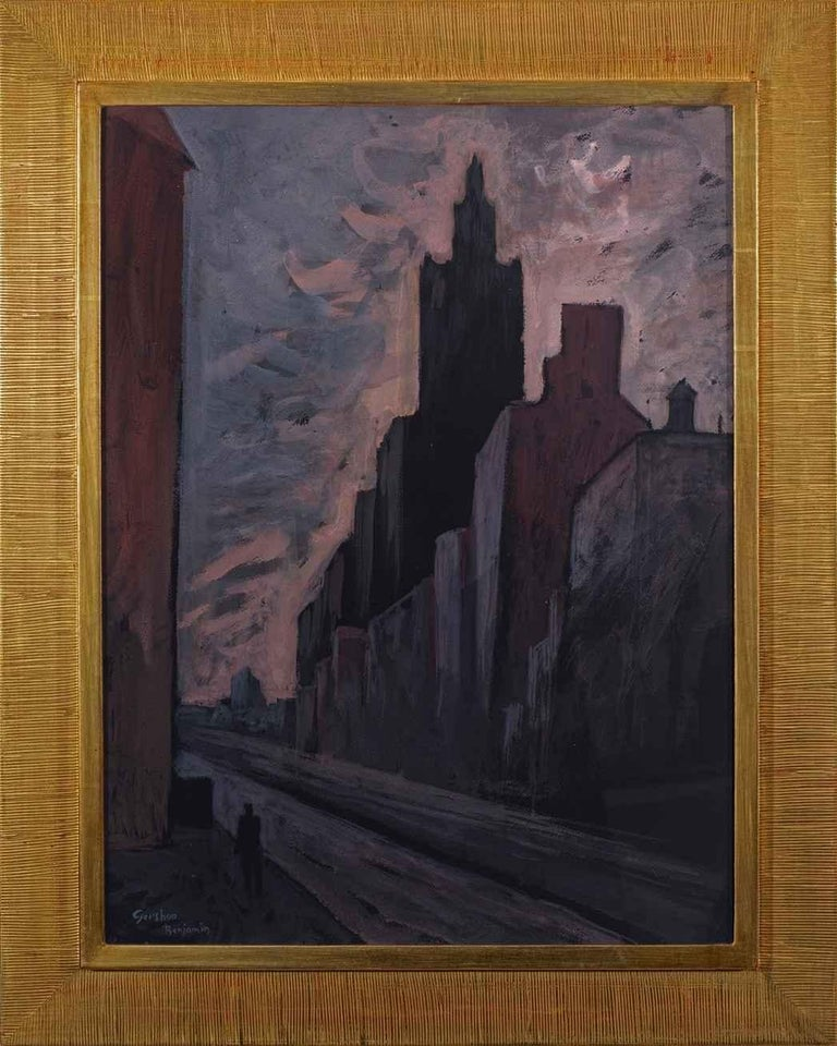 """Gershon Benjamin Landscape Painting - """"Sunset in the City"""""""