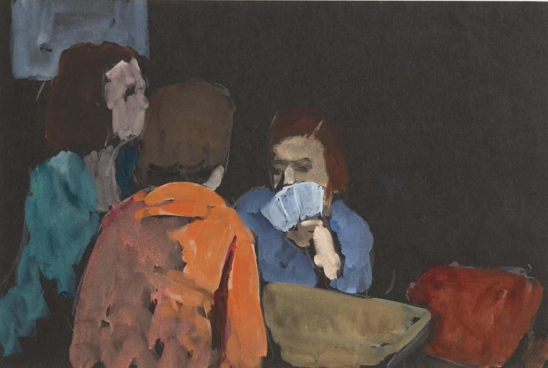 The Card Players - Modern Painting by Gershon Benjamin