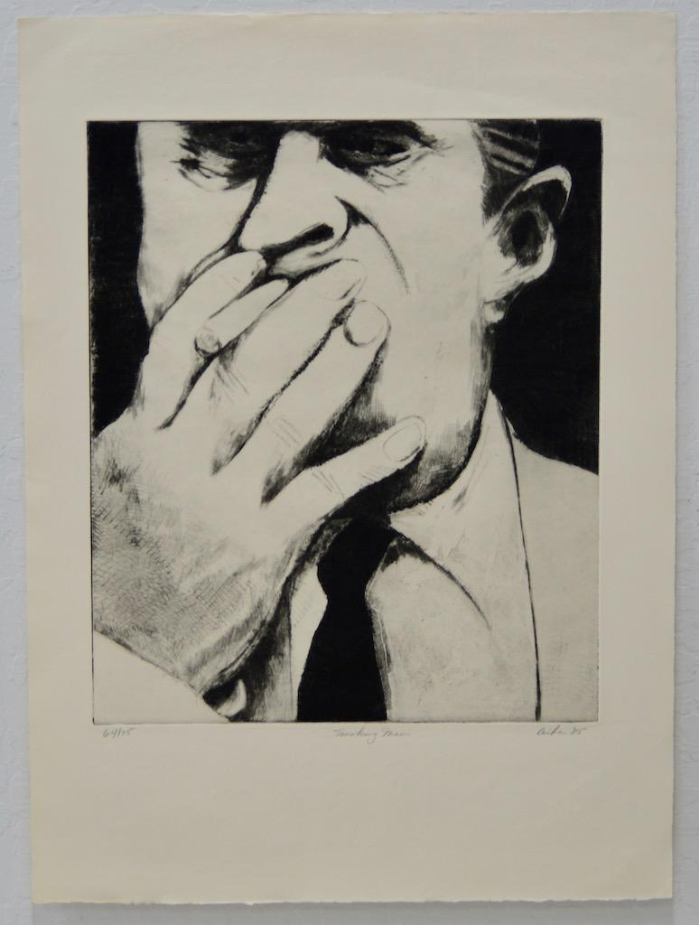 "Gerson Leiber ""Man Smoking"" Etching w/ Aquatint c.1985"