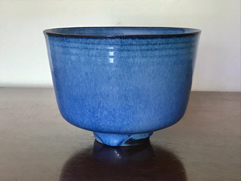 The Natzlers moved to Los Angeles from Austria in 1938. They were trained artisans. She made the simple pristine pot forms and he made the amazing glaze designs. This piece is another exceptional example of both of their applied techniques. Wheel