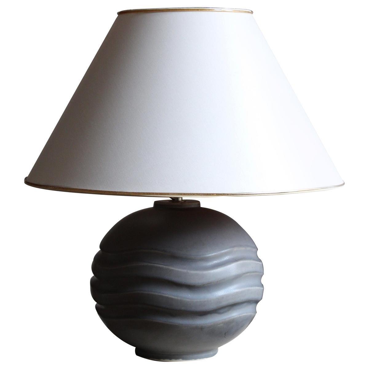 Gertrud Lönegren, Large Table Lamp, Glazed Stoneware, Rörstrand, 1950s