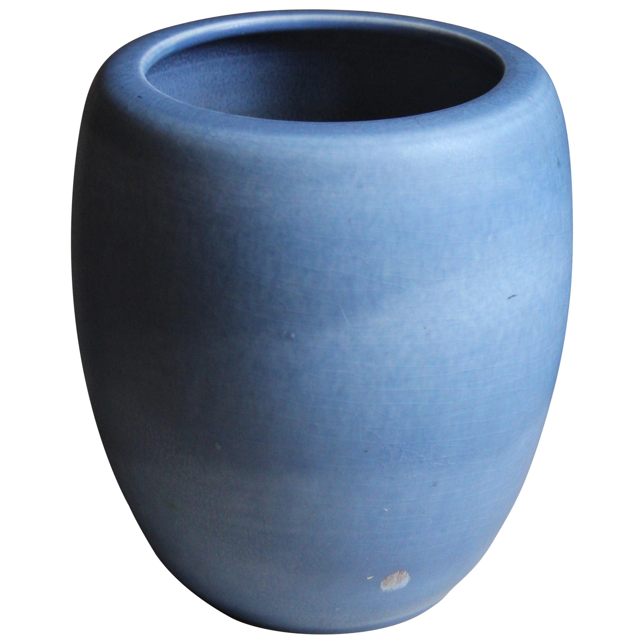 Gertrud Lönegren, Modernist Vase, Blue Glazed Stoneware, Rörstrand, 1950s