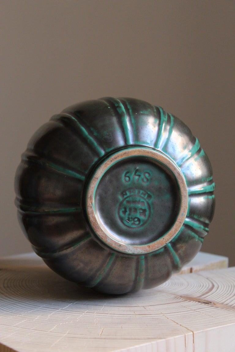 Swedish Gertrud Lönegren, Modernist Vase, Green Glazed Stoneware, St. Eriks Upsala 1930s For Sale