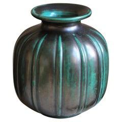 Gertrud Lönegren, Modernist Vase, Green Glazed Stoneware, St. Eriks Upsala 1930s