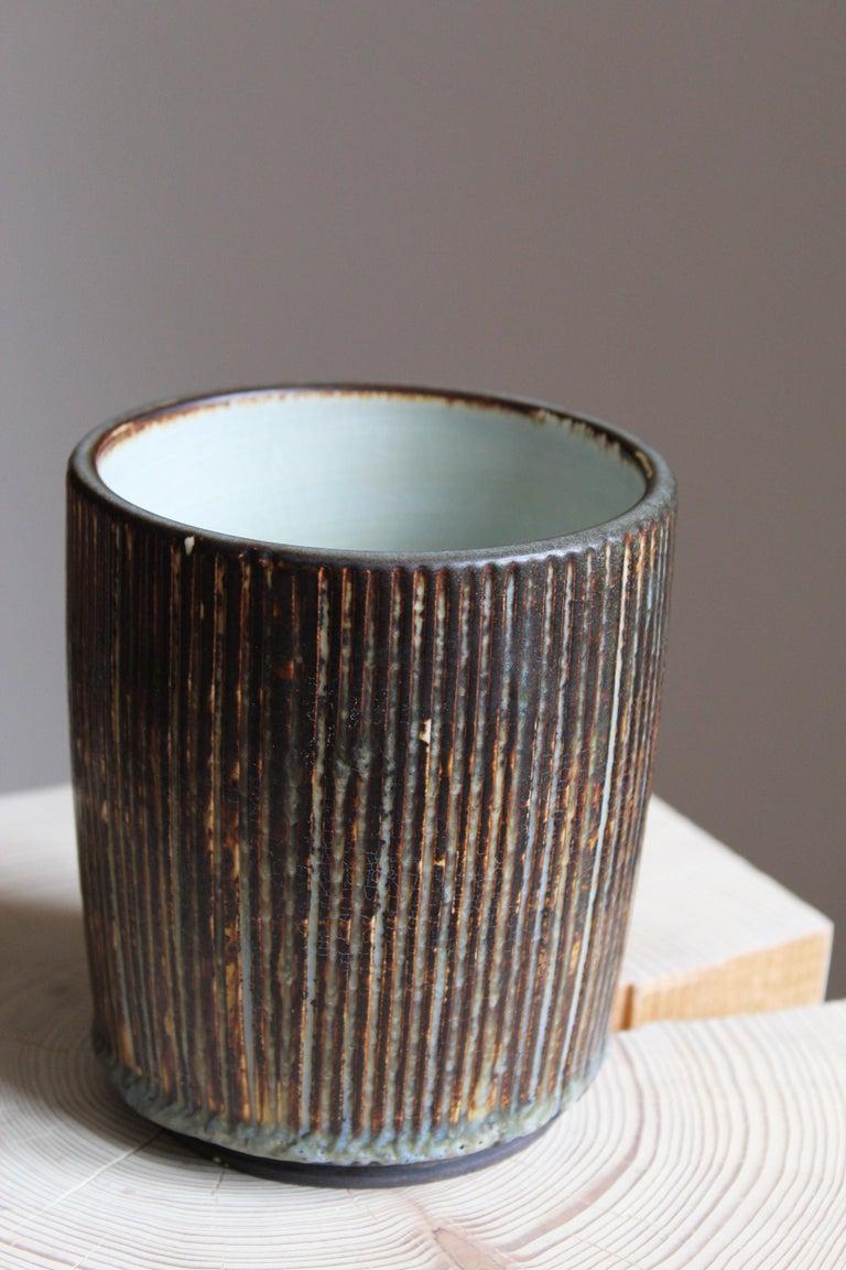 Mid-Century Modern Gertrud Lönegren, Small Modernist Vase, Glazed Stoneware, Rörstrand, 1950s For Sale