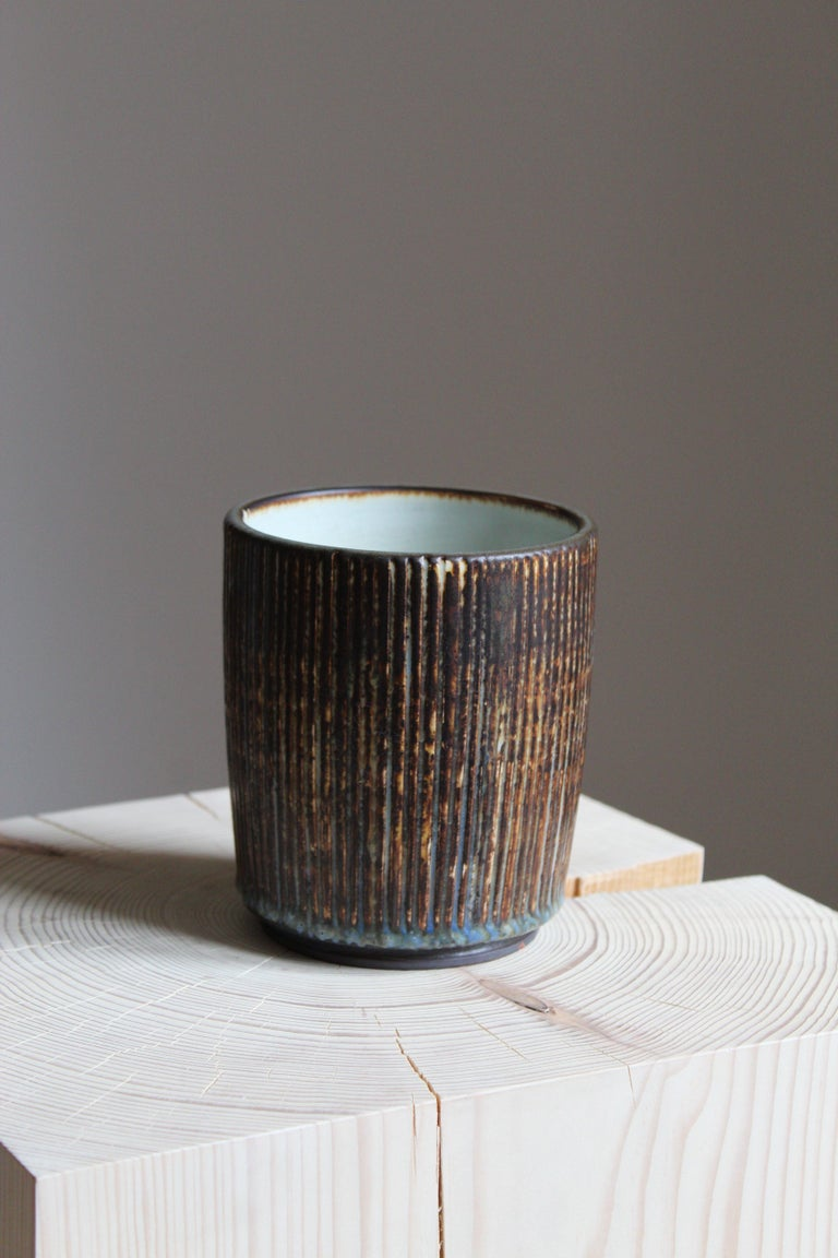 Mid-20th Century Gertrud Lönegren, Small Modernist Vase, Glazed Stoneware, Rörstrand, 1950s For Sale