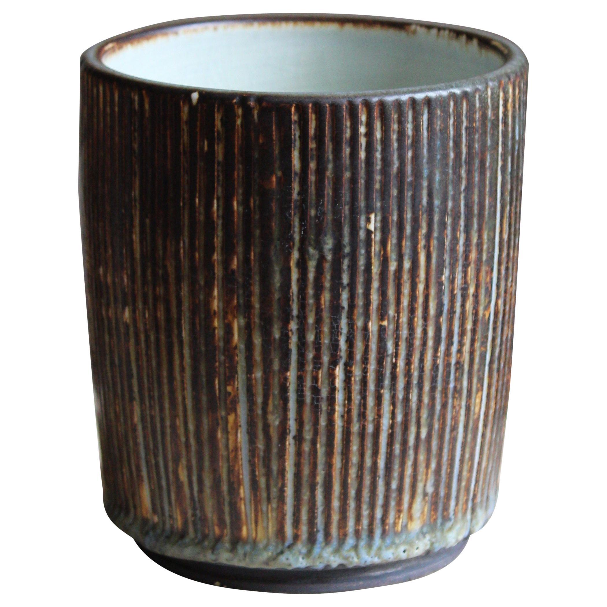 Gertrud Lönegren, Small Modernist Vase, Glazed Stoneware, Rörstrand, 1950s