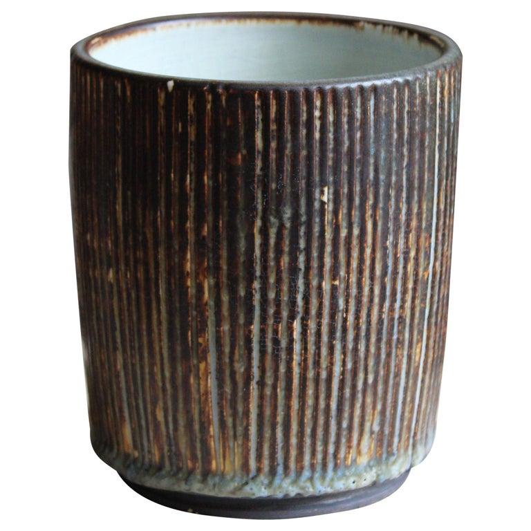 Gertrud Lönegren, Small Modernist Vase, Glazed Stoneware, Rörstrand, 1950s For Sale