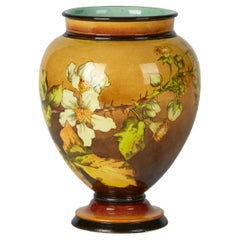 Gertrud Smith Doulton Lambeth Faience Floral Painted Vase, circa 1882