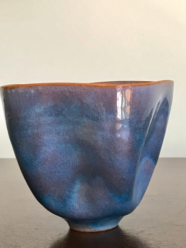 Glazed Gertrud and Otto Natzler Studio Pottery Pinch Pot For Sale