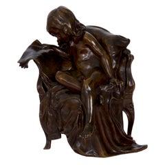 Gertrude Bricard Antique French Bronze Sculpture of Girl Reading Newspaper