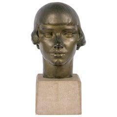 """Gertrude Vanderbilt Whitney Bronze Sculpture """"Young Woman"""", USA 1920s"""