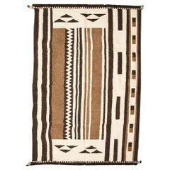 Geru Handloom Indian Wool Rug in Neutral Tones Geometric Patterns