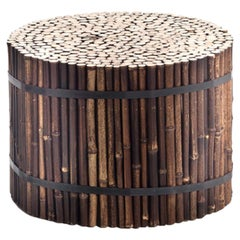 Gervasoni Small Black Side Table in Bamboo by Paola Navone