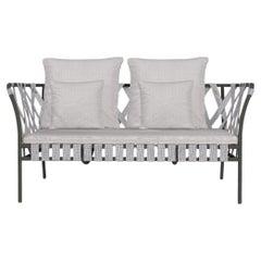 Gervasoni Small Inout Sofa in Aspen 02 Upholstery with Grey Aluminium Frame