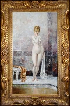 Apprehension - Large 19th Century Orientalist Oil Painting of Beautiful Nude