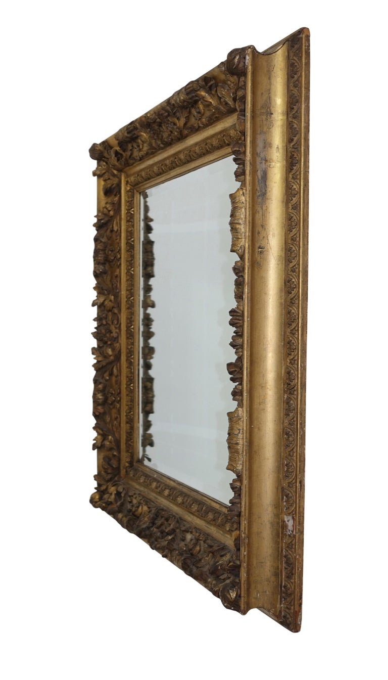 Beaux Arts Gesso and Carved Gilt Framed Mirror, English, 19th Century For Sale