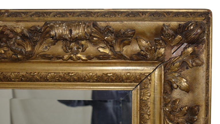 Mid-19th Century Gesso and Carved Gilt Framed Mirror, English, 19th Century For Sale