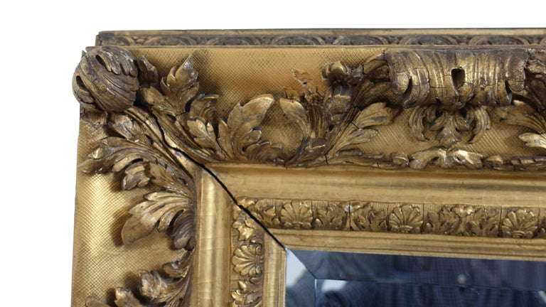 Gesso and Carved Gilt Framed Mirror, English, 19th Century For Sale 1