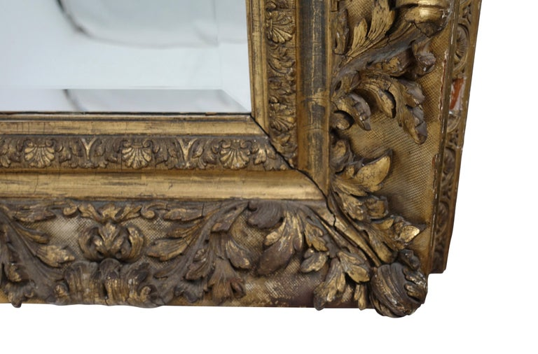 Gesso and Carved Gilt Framed Mirror, English, 19th Century For Sale 3