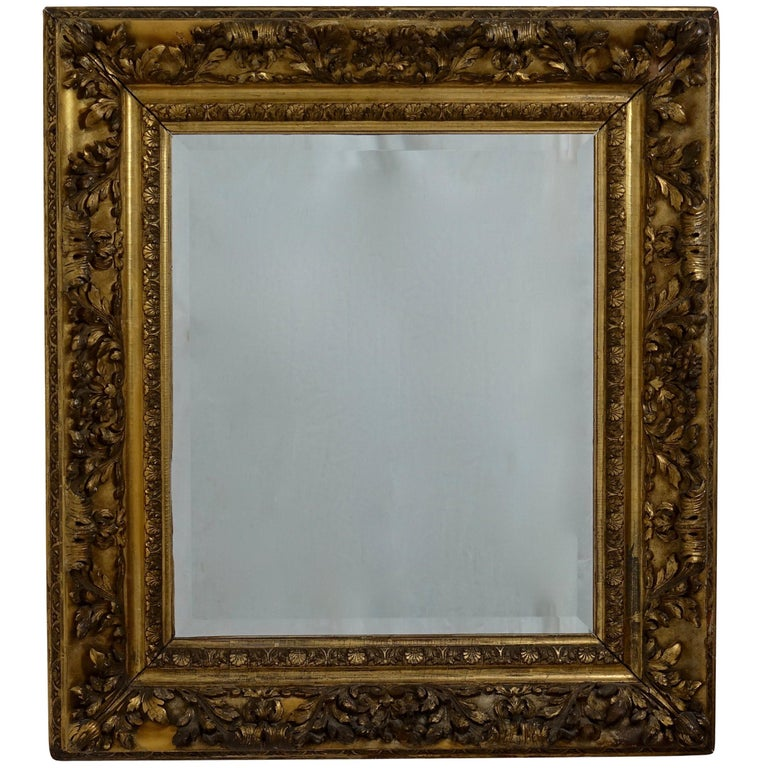 Gesso and Carved Gilt Framed Mirror, English, 19th Century For Sale