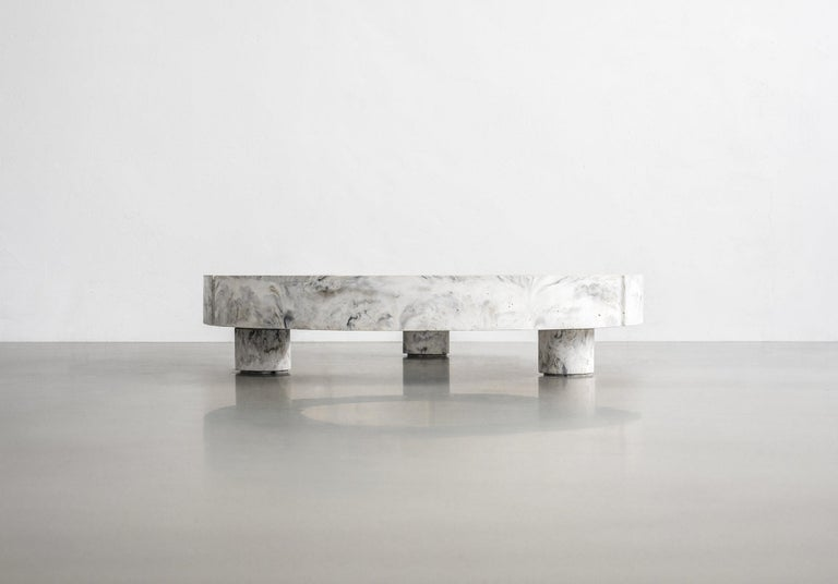 Gestalt coffee table - Signed by Frederik Bogaerts and Jochen Sablon Materials: Pigmented concrete, Black/Moss Marbled Dimensions: H 22 cm Ø 100 cm Limited edition of 25 Signed and numbered.  Gesralt low table.  Gesralt is a barrel full of