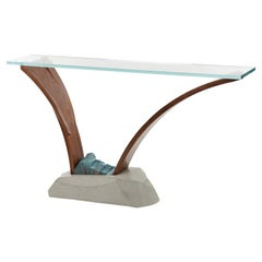 Gestural Console Table in Glass with Bent Wood and Cast Concrete by Nico Yektai
