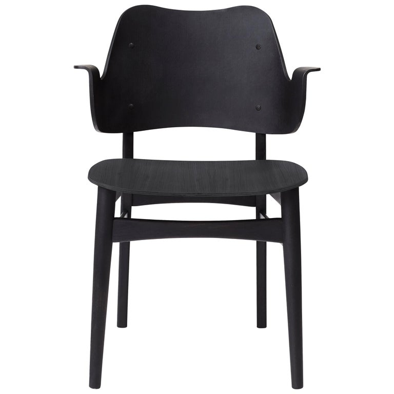 For Sale: Black Gesture Chair in Pure Wood, by Hans Olsen from Warm Nordic