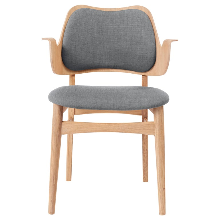 For Sale: Gray (Canvas 134) Gesture Monochrome Fully Upholstered Chair in Oak, by Hans Olsen for Warm Nordic