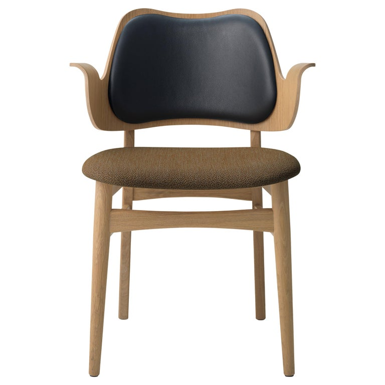 For Sale: Brown (Black/Sprinkles 274) Gesture Two-Tone Fully Upholstered Chair in Oak, by Hans Olsen from Warm Nordic