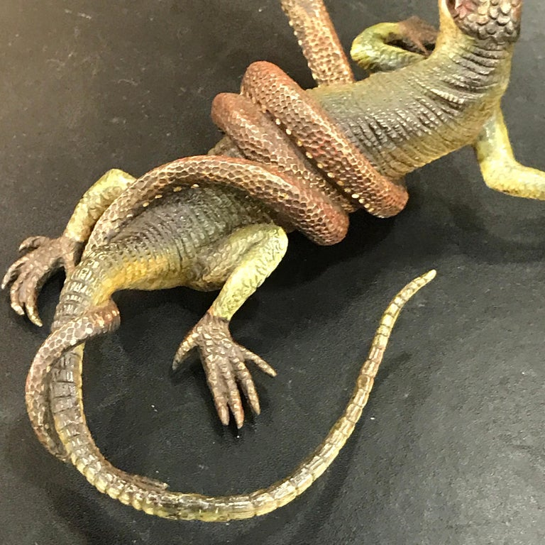 Gestuz Viennese Cold Painted Bronze Lizard and Snake Confrontation Sculpture For Sale 6