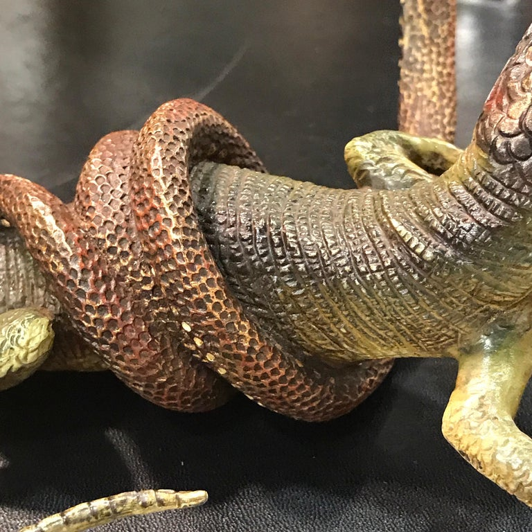 19th Century Gestuz Viennese Cold Painted Bronze Lizard and Snake Confrontation Sculpture For Sale