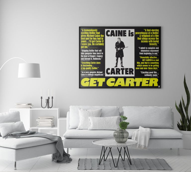 Get Carter 1971 UK Quad Quotes style film movie poster  The very rare UK quotes style quad film poster for 70s gritty Michael Caine thriller Get Carter. Fantastic fluorescent dayglo text (which actually looks better in person than
