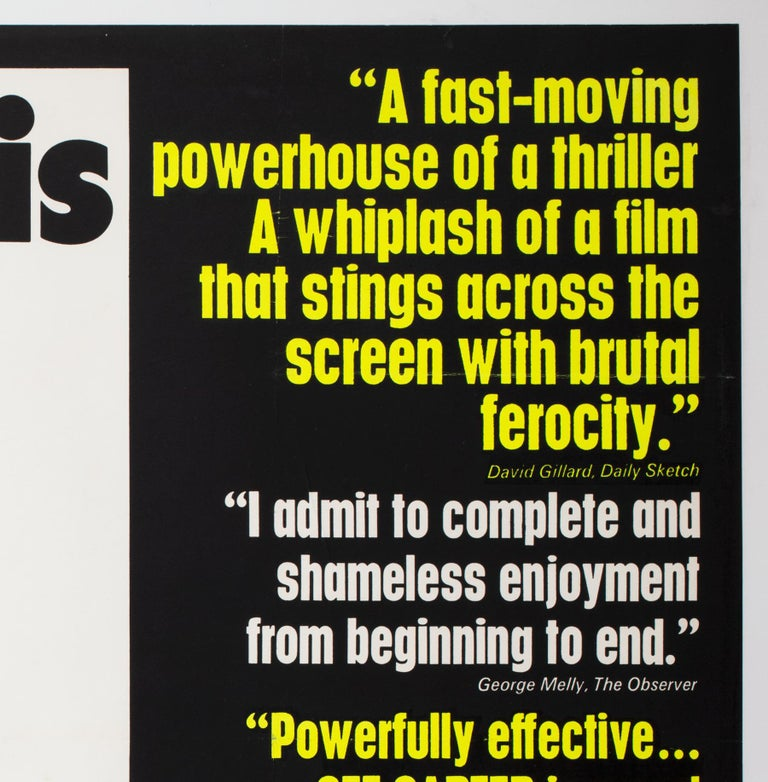 20th Century Get Carter 1971 UK Quad Quotes Style Film Movie Poster For Sale