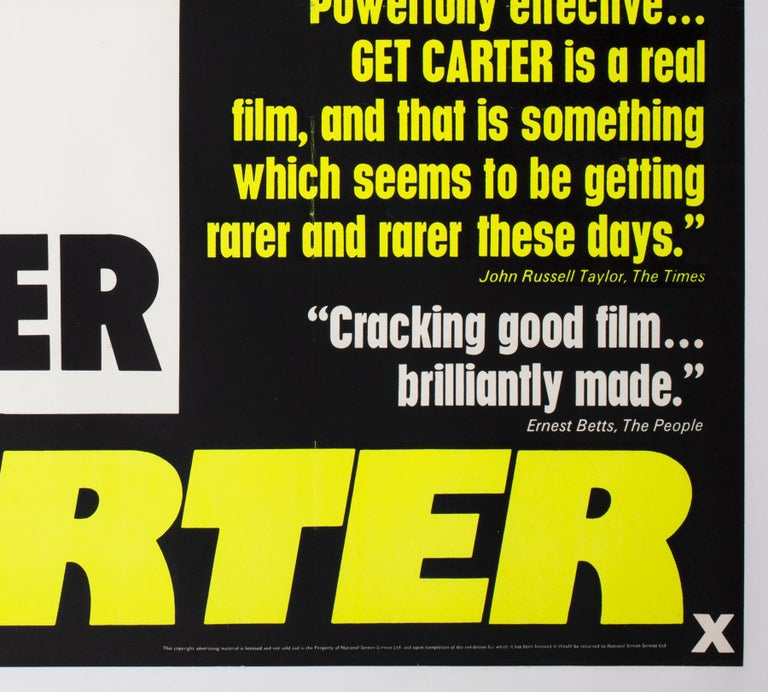 Get Carter 1971 UK Quad Quotes Style Film Movie Poster For Sale 2