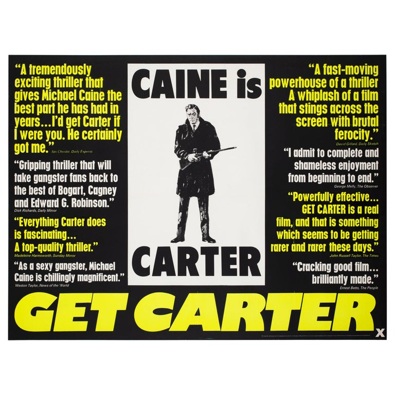Get Carter 1971 UK Quad Quotes Style Film Movie Poster For Sale