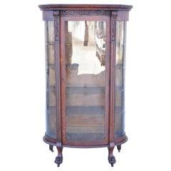 Gettysburg Furniture Empire Tiger Oak Bow Glass Paw Feet China Cabinet Curio