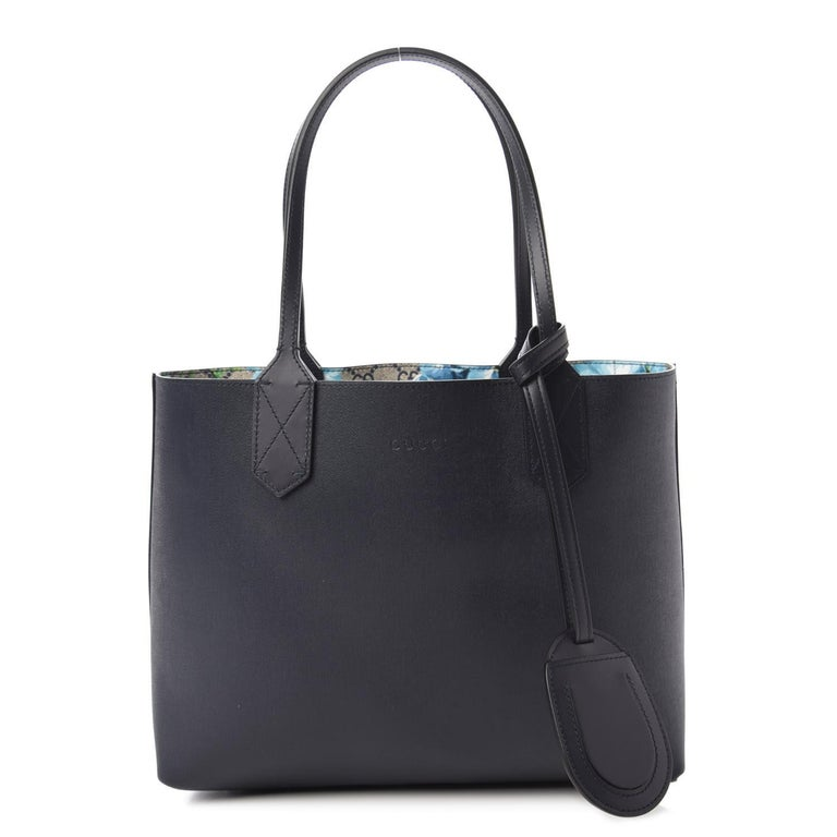 GG Supreme Monogram Blooms Print Small Reversible Tote Blue $1800 546323 Style  For Sale 5