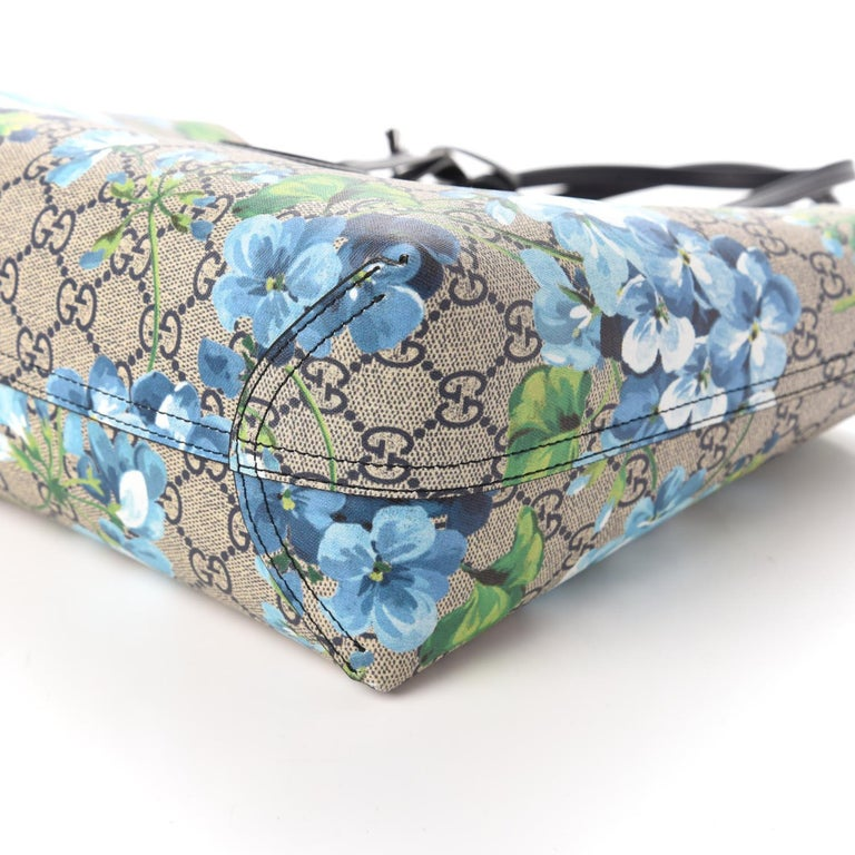 GG Supreme Monogram Blooms Print Small Reversible Tote Blue $1800 546323 Style  For Sale 6