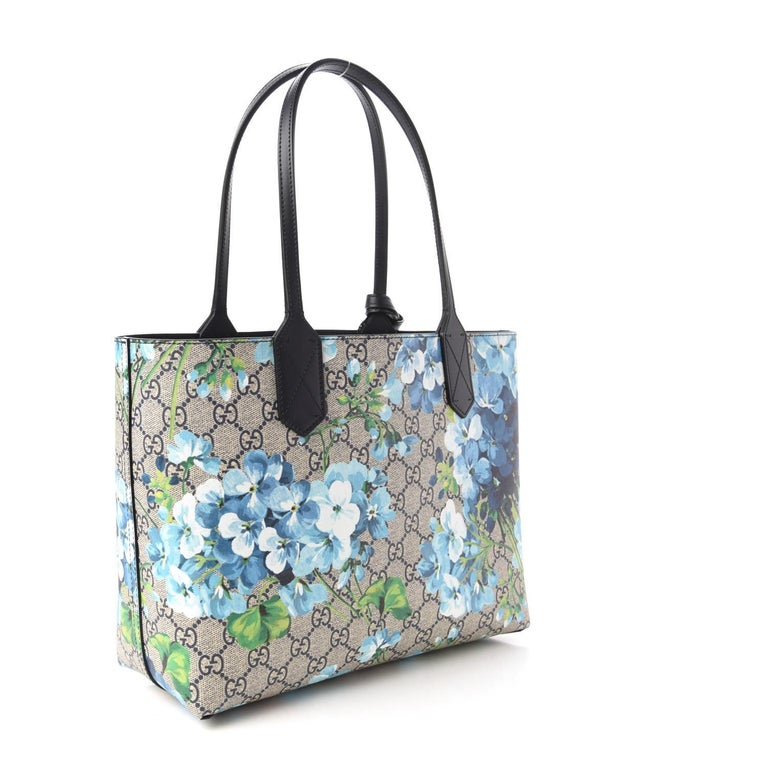 GG Supreme Monogram Blooms Print Small Reversible Tote Blue $1800 546323 Style  For Sale 2