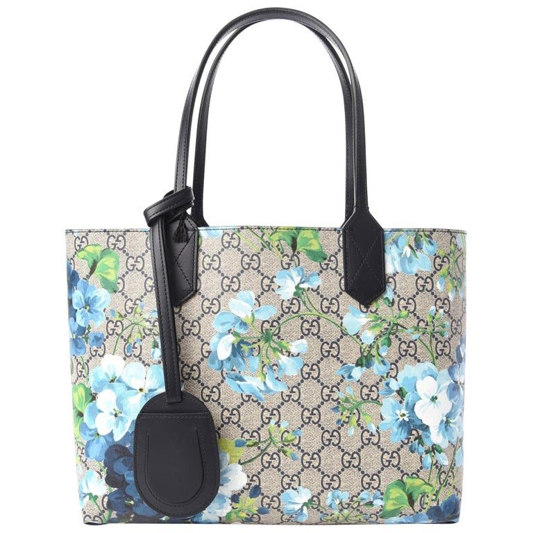 GG Supreme Monogram Blooms Print Small Reversible Tote Blue $1800 546323 Style  For Sale