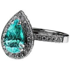 GGTL Certified 2.55 Carat Paraiba Tourmaline Diamond Engagement Ring