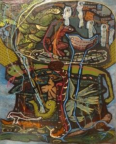 """""""Survival III"""" Acrylic & Inks Painting 25"""" x 18"""" inch by Ghaidaa Ashraf"""