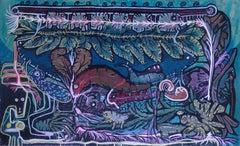 """Survival V"" Acrylic & Inks Painting 14"" x 24"" inch by Ghaidaa Ashraf"