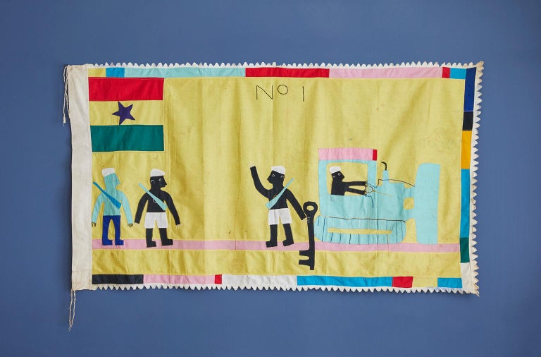 Asafo flag in cotton applique pattern by the Fante people.   A unique and creative image, with an earth mover replacing earlier subjects as a metaphor for the strength boasted of by the company. Dates from circa 1970s. Condition is