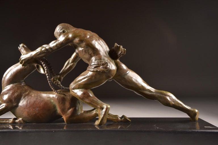 Ghanu Gantcheff, Sculpture, Bronze Art Deco Sculpture on Marble Basement For Sale 4