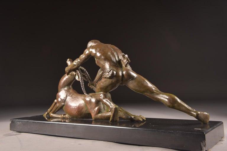 Ghanu Gantcheff, Sculpture, Bronze Art Deco Sculpture on Marble Basement For Sale 5