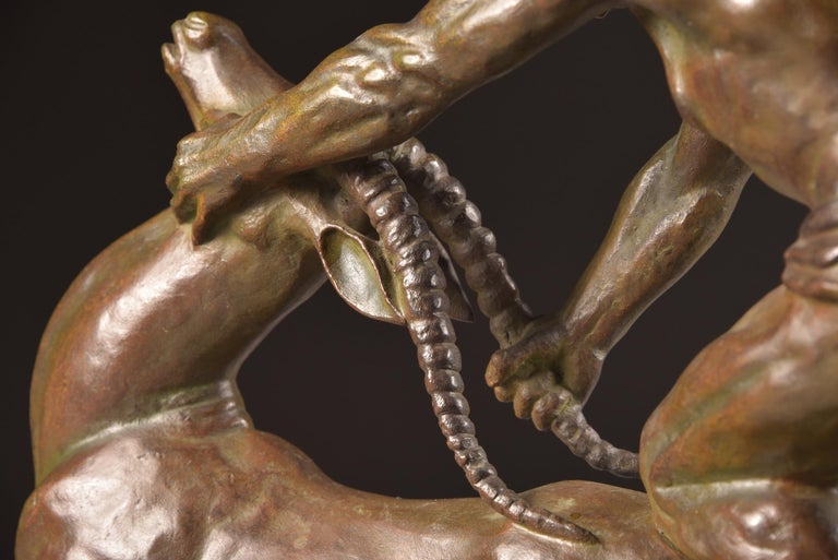 Ghanu Gantcheff, Sculpture, Bronze Art Deco Sculpture on Marble Basement For Sale 7
